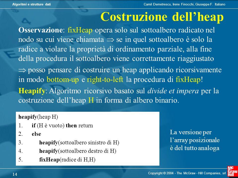 Camil Demetrescu, Irene Finocchi, Giuseppe F. ItalianoAlgoritmi e strutture dati Copyright © 2004 - The McGraw - Hill Companies, srl 14 heapify(heap H