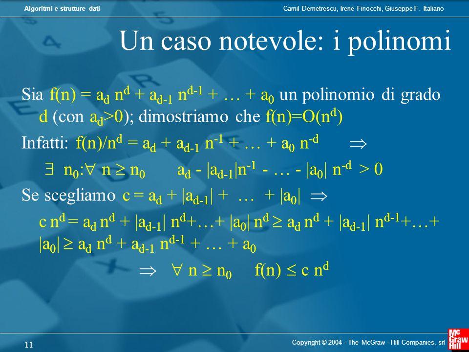Camil Demetrescu, Irene Finocchi, Giuseppe F. ItalianoAlgoritmi e strutture dati Un caso notevole: i polinomi Sia f(n) = a d n d + a d-1 n d-1 + … + a