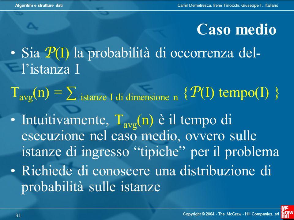 Camil Demetrescu, Irene Finocchi, Giuseppe F. ItalianoAlgoritmi e strutture dati Copyright © 2004 - The McGraw - Hill Companies, srl 31 Sia P (I) la p