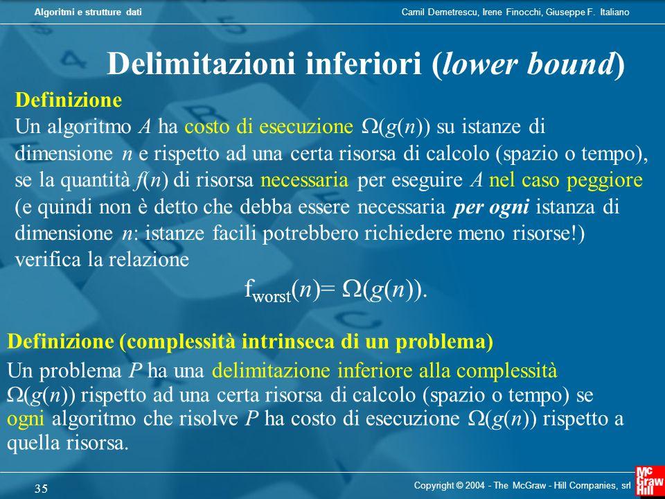 Camil Demetrescu, Irene Finocchi, Giuseppe F. ItalianoAlgoritmi e strutture dati Copyright © 2004 - The McGraw - Hill Companies, srl 35 Delimitazioni