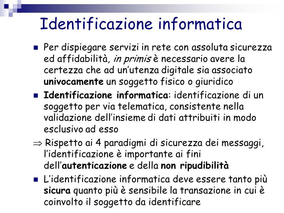 Identificazione informatica Per dispiegare servizi in rete con assoluta sicurezza ed affidabilità, in primis è necessario avere la certezza che ad unu