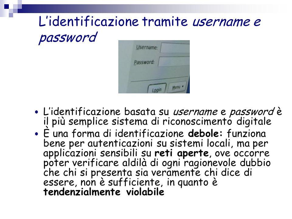 Lidentificazione tramite username e password Lidentificazione basata su username e password è il più semplice sistema di riconoscimento digitale È una