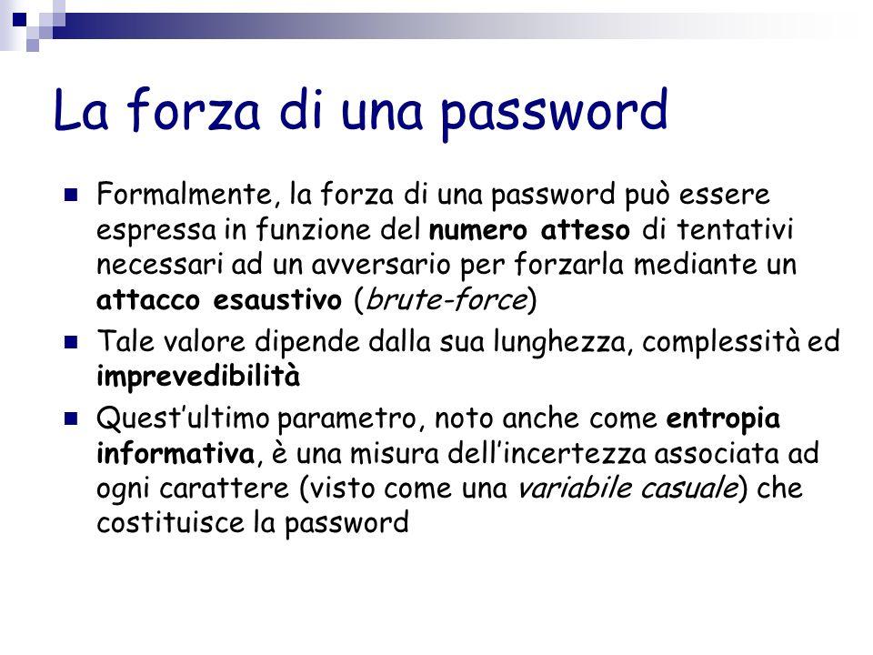 La forza di una password Formalmente, la forza di una password può essere espressa in funzione del numero atteso di tentativi necessari ad un avversar
