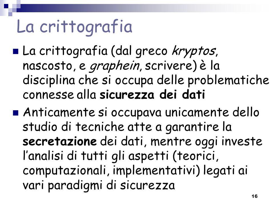 16 La crittografia La crittografia (dal greco kryptos, nascosto, e graphein, scrivere) è la disciplina che si occupa delle problematiche connesse alla