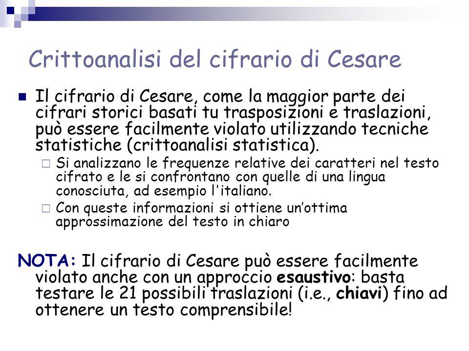 Crittoanalisi del cifrario di Cesare Il cifrario di Cesare, come la maggior parte dei cifrari storici basati tu trasposizioni e traslazioni, può esser