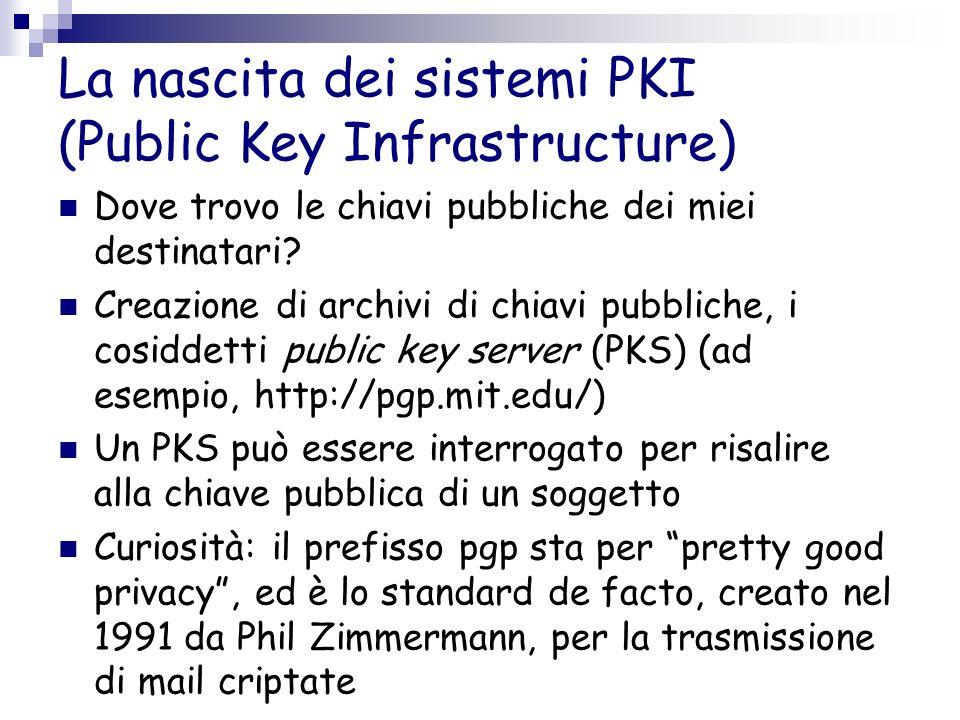 La nascita dei sistemi PKI (Public Key Infrastructure) Dove trovo le chiavi pubbliche dei miei destinatari? Creazione di archivi di chiavi pubbliche,