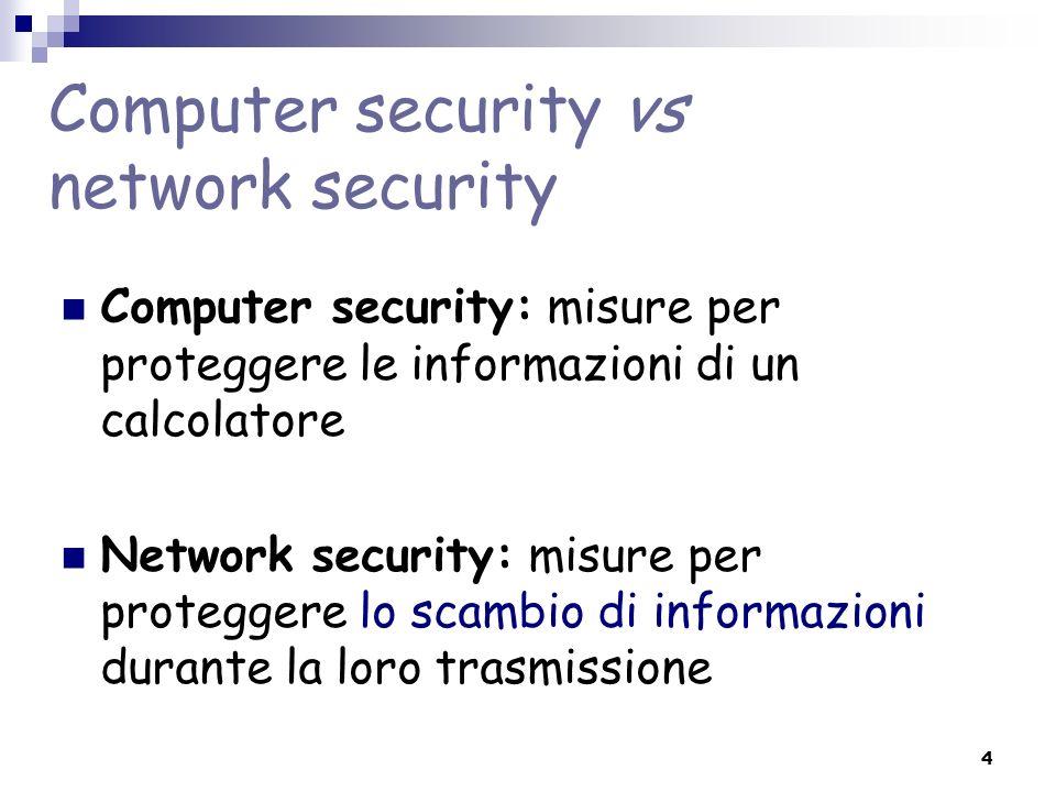 4 Computer security vs network security Computer security: misure per proteggere le informazioni di un calcolatore Network security: misure per proteg