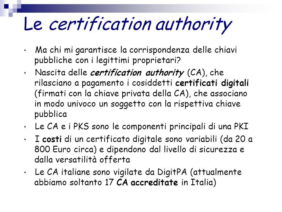 Le certification authority Ma chi mi garantisce la corrispondenza delle chiavi pubbliche con i legittimi proprietari? Nascita delle certification auth