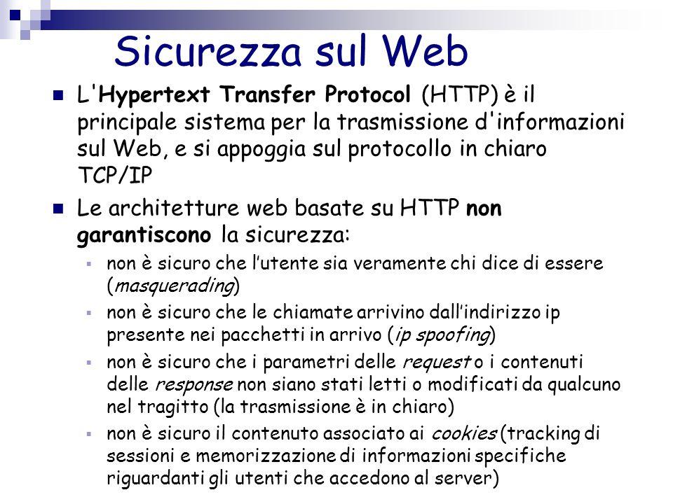 Sicurezza sul Web L'Hypertext Transfer Protocol (HTTP) è il principale sistema per la trasmissione d'informazioni sul Web, e si appoggia sul protocoll