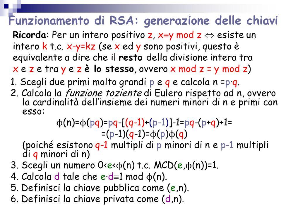 Funzionamento di RSA: generazione delle chiavi 1. Scegli due primi molto grandi p e q e calcola n =pq. 2. Calcola la funzione toziente di Eulero rispe