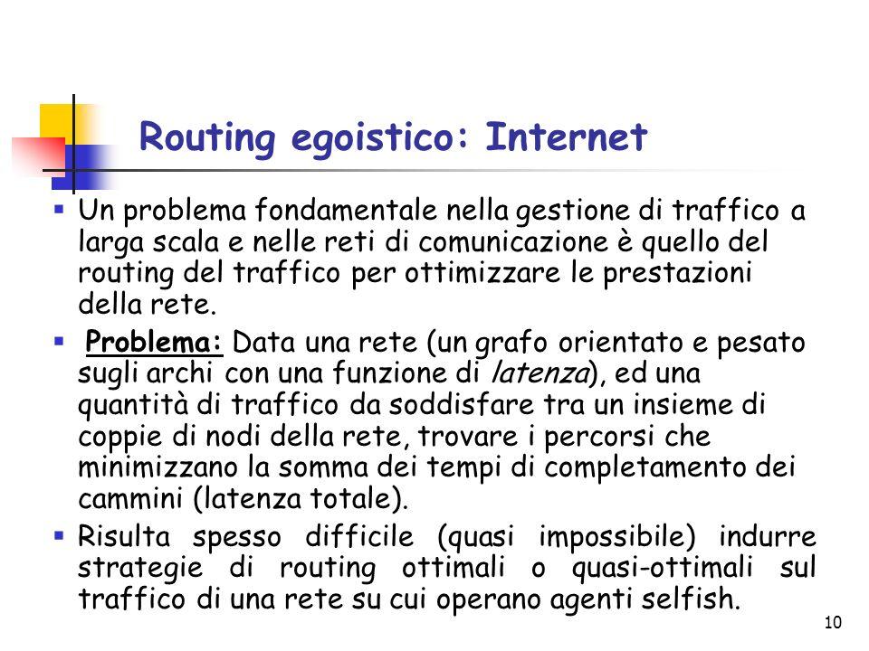 10 Routing egoistico: Internet Un problema fondamentale nella gestione di traffico a larga scala e nelle reti di comunicazione è quello del routing de