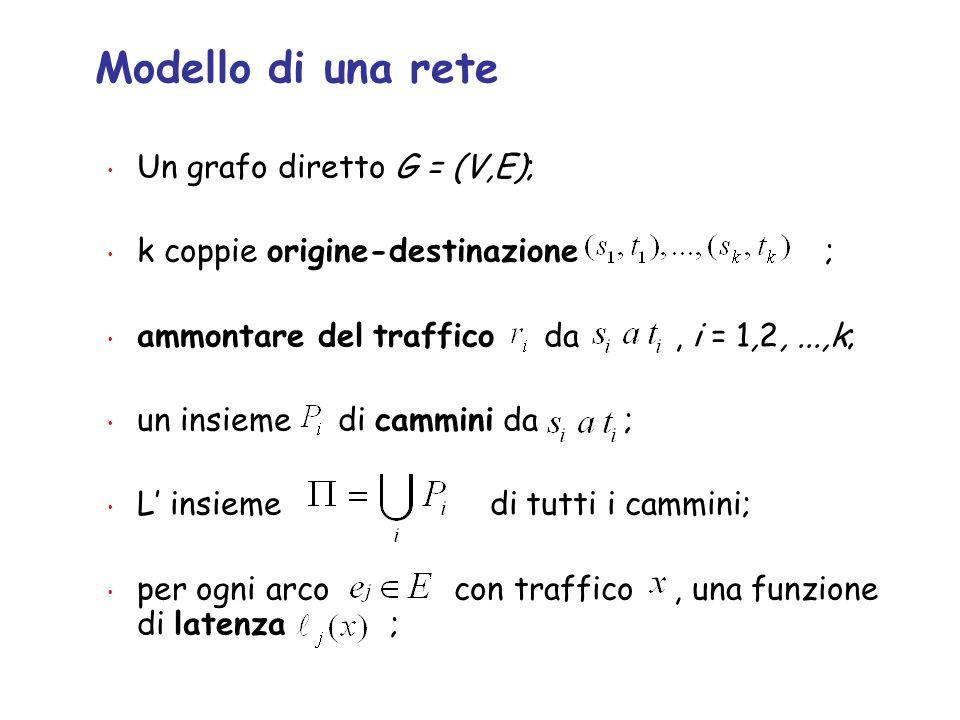 Modello di una rete Un grafo diretto G = (V,E); k coppie origine-destinazione ; ammontare del traffico da, i = 1,2,...,k; un insieme di cammini da ; L