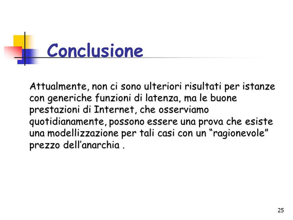 25 Conclusione Attualmente, non ci sono ulteriori risultati per istanze con generiche funzioni di latenza, ma le buone prestazioni di Internet, che os