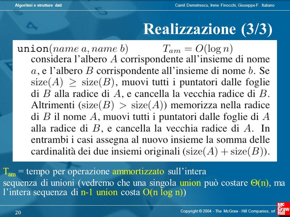 Camil Demetrescu, Irene Finocchi, Giuseppe F. ItalianoAlgoritmi e strutture dati Copyright © 2004 - The McGraw - Hill Companies, srl 20 Realizzazione