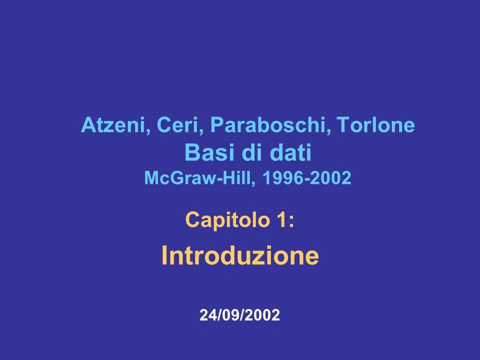 24/09/2002Atzeni-Ceri-Paraboschi-Torlone, Basi di dati, Capitolo 1 62 Transazioni, due accezioni Per l utente: –programma a disposizione, da eseguire per realizzare una funzione di interesse Per il sistema: –sequenza indivisibile di operazioni (cfr.