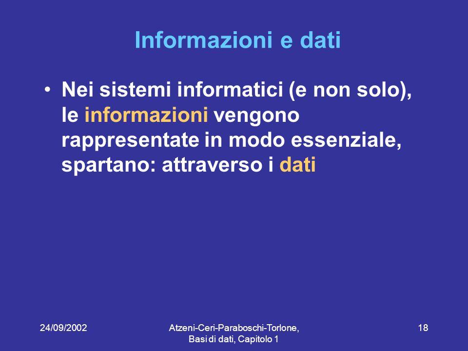 24/09/2002Atzeni-Ceri-Paraboschi-Torlone, Basi di dati, Capitolo 1 18 Informazioni e dati Nei sistemi informatici (e non solo), le informazioni vengono rappresentate in modo essenziale, spartano: attraverso i dati