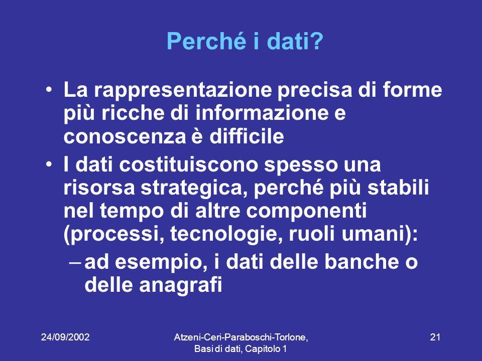24/09/2002Atzeni-Ceri-Paraboschi-Torlone, Basi di dati, Capitolo 1 21 Perché i dati.