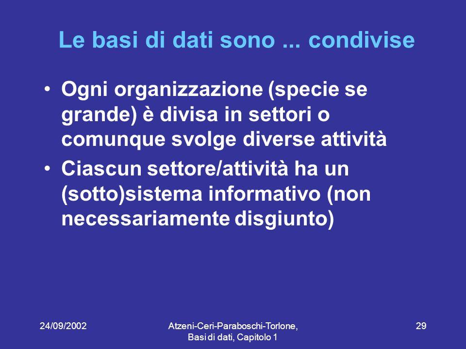 24/09/2002Atzeni-Ceri-Paraboschi-Torlone, Basi di dati, Capitolo 1 29 Le basi di dati sono...