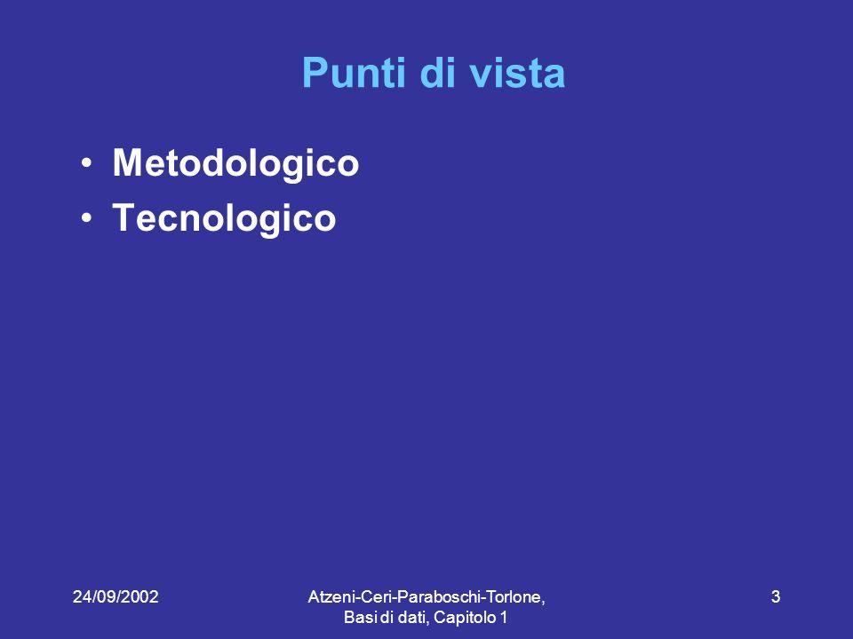24/09/2002Atzeni-Ceri-Paraboschi-Torlone, Basi di dati, Capitolo 1 34 Archivi e basi di dati Gestione ricevimento Gestione orario lezioni Base di dati
