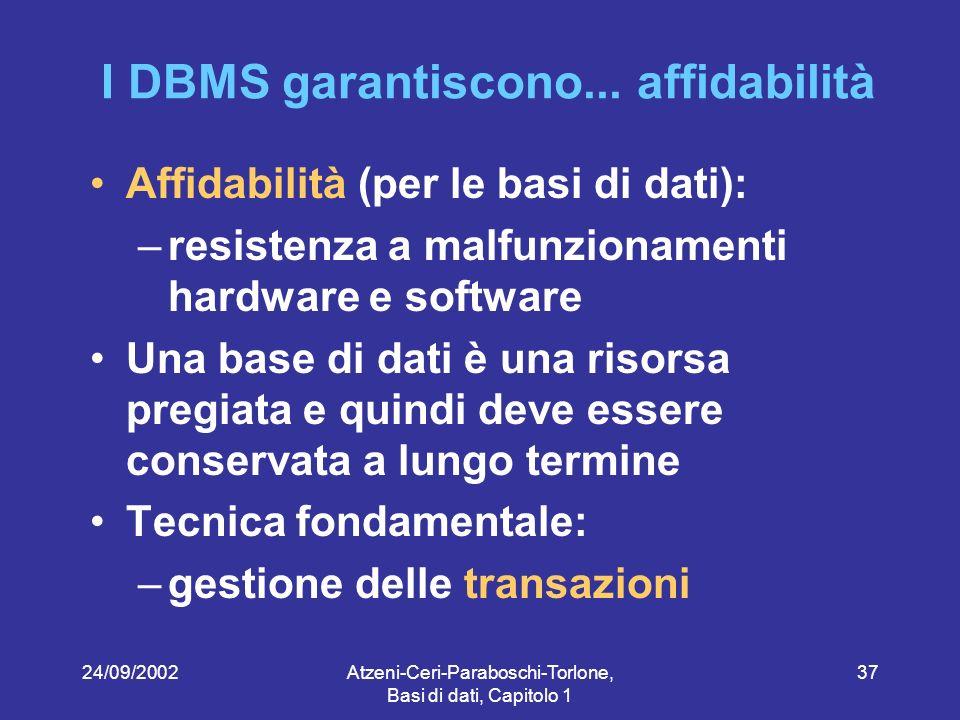 24/09/2002Atzeni-Ceri-Paraboschi-Torlone, Basi di dati, Capitolo 1 37 I DBMS garantiscono...
