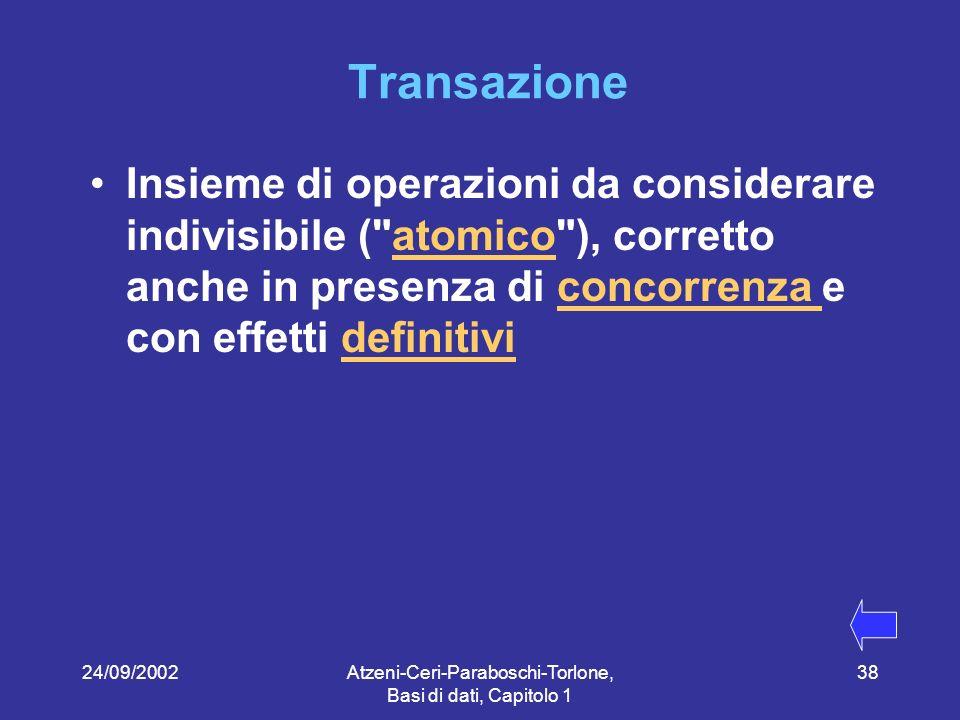 24/09/2002Atzeni-Ceri-Paraboschi-Torlone, Basi di dati, Capitolo 1 38 Transazione Insieme di operazioni da considerare indivisibile ( atomico ), corretto anche in presenza di concorrenza e con effetti definitiviatomicoconcorrenza definitivi
