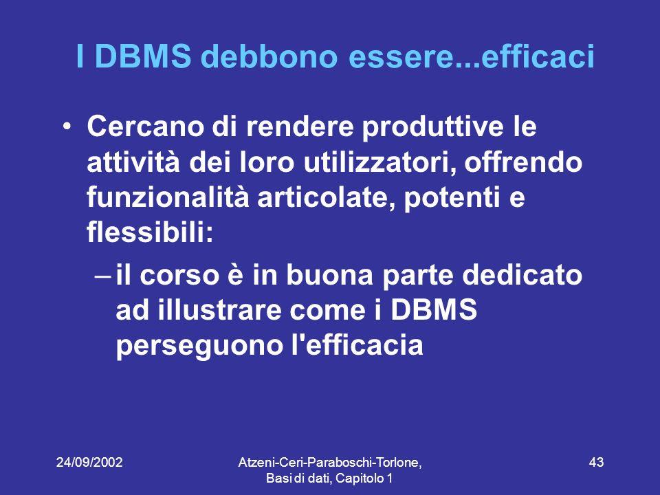 24/09/2002Atzeni-Ceri-Paraboschi-Torlone, Basi di dati, Capitolo 1 43 I DBMS debbono essere...efficaci Cercano di rendere produttive le attività dei loro utilizzatori, offrendo funzionalità articolate, potenti e flessibili: –il corso è in buona parte dedicato ad illustrare come i DBMS perseguono l efficacia