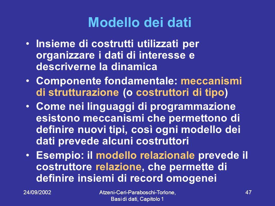24/09/2002Atzeni-Ceri-Paraboschi-Torlone, Basi di dati, Capitolo 1 47 Modello dei dati Insieme di costrutti utilizzati per organizzare i dati di interesse e descriverne la dinamica Componente fondamentale: meccanismi di strutturazione (o costruttori di tipo) Come nei linguaggi di programmazione esistono meccanismi che permettono di definire nuovi tipi, così ogni modello dei dati prevede alcuni costruttori Esempio: il modello relazionale prevede il costruttore relazione, che permette di definire insiemi di record omogenei
