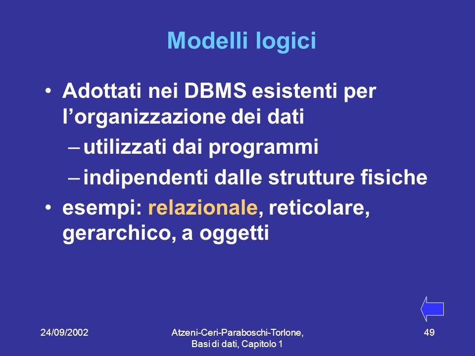 24/09/2002Atzeni-Ceri-Paraboschi-Torlone, Basi di dati, Capitolo 1 49 Modelli logici Adottati nei DBMS esistenti per lorganizzazione dei dati –utilizzati dai programmi –indipendenti dalle strutture fisiche esempi: relazionale, reticolare, gerarchico, a oggetti