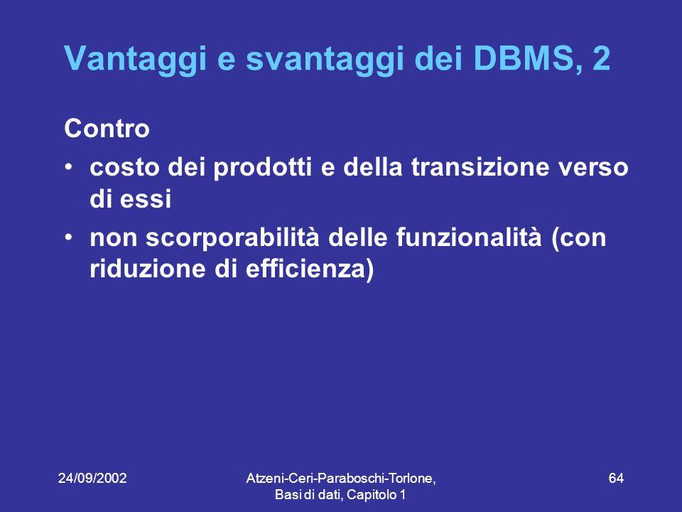 24/09/2002Atzeni-Ceri-Paraboschi-Torlone, Basi di dati, Capitolo 1 64 Vantaggi e svantaggi dei DBMS, 2 Contro costo dei prodotti e della transizione verso di essi non scorporabilità delle funzionalità (con riduzione di efficienza)