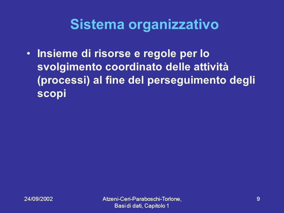 24/09/2002Atzeni-Ceri-Paraboschi-Torlone, Basi di dati, Capitolo 1 9 Sistema organizzativo Insieme di risorse e regole per lo svolgimento coordinato delle attività (processi) al fine del perseguimento degli scopi