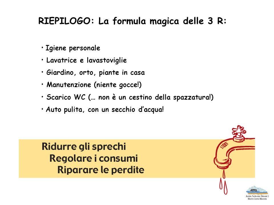 RIEPILOGO: La formula magica delle 3 R: Igiene personale Lavatrice e lavastoviglie Giardino, orto, piante in casa Manutenzione (niente gocce!) Scarico