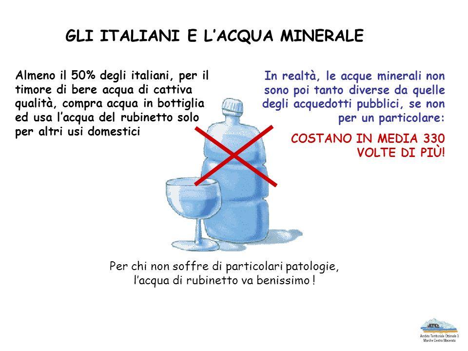 GLI ITALIANI E LACQUA MINERALE Almeno il 50% degli italiani, per il timore di bere acqua di cattiva qualità, compra acqua in bottiglia ed usa lacqua d