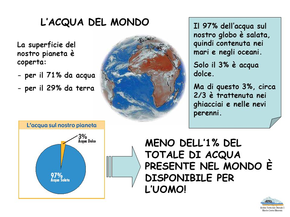 LACQUA DEL MONDO La superficie del nostro pianeta è coperta: - per il 71% da acqua - per il 29% da terra Il 97% dellacqua sul nostro globo è salata, q