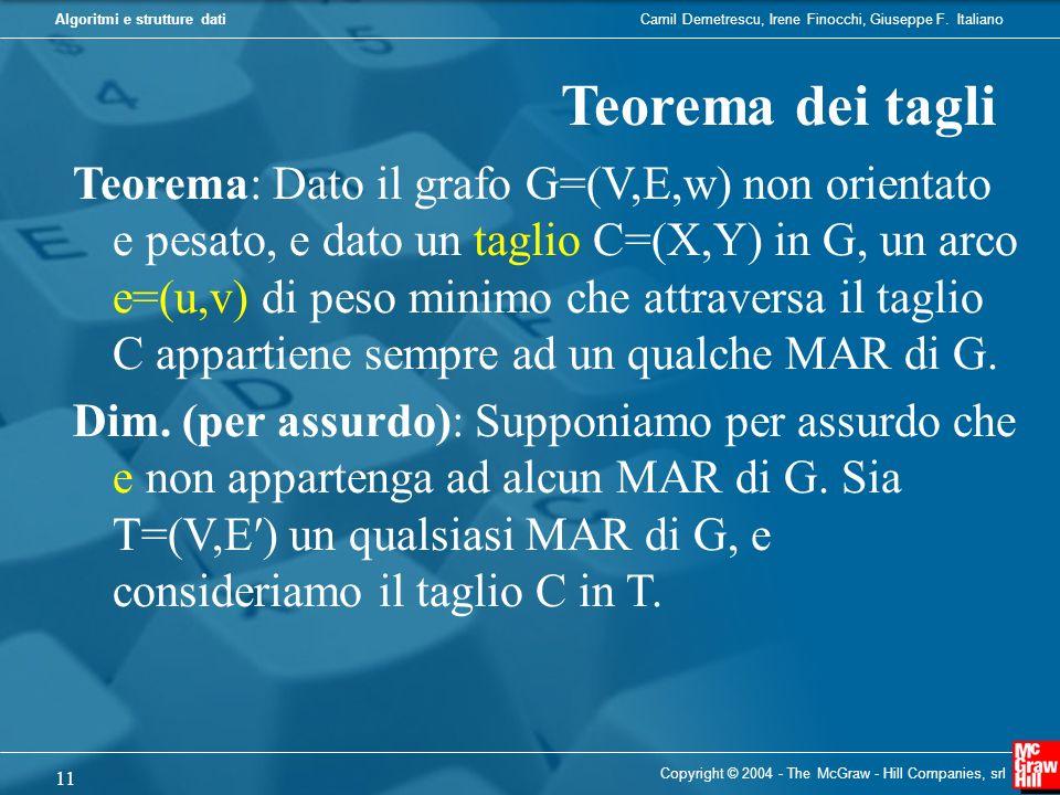 Camil Demetrescu, Irene Finocchi, Giuseppe F. ItalianoAlgoritmi e strutture dati Copyright © 2004 - The McGraw - Hill Companies, srl 11 Teorema dei ta