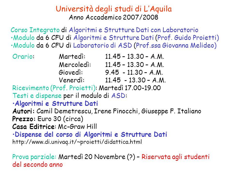 Università degli studi di LAquila Anno Accademico 2007/2008 Corso Integrato di Algoritmi e Strutture Dati con Laboratorio Modulo da 6 CFU di Algoritmi e Strutture Dati (Prof.