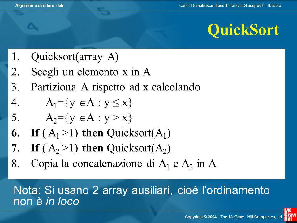 Camil Demetrescu, Irene Finocchi, Giuseppe F. ItalianoAlgoritmi e strutture dati Copyright © 2004 - The McGraw - Hill Companies, srl 1.Quicksort(array