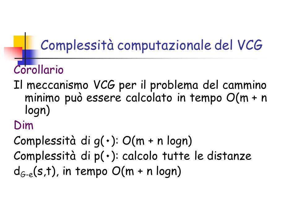 Complessità computazionale del VCG Corollario Il meccanismo VCG per il problema del cammino minimo può essere calcolato in tempo O(m + n logn) Dim Complessità di g( ٠ ): O(m + n logn) Complessità di p( ٠ ): calcolo tutte le distanze d G-e (s,t), in tempo O(m + n logn)