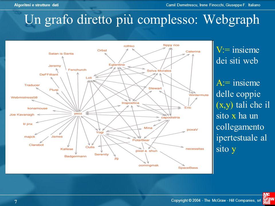 Camil Demetrescu, Irene Finocchi, Giuseppe F. ItalianoAlgoritmi e strutture dati Copyright © 2004 - The McGraw - Hill Companies, srl 7 Un grafo dirett