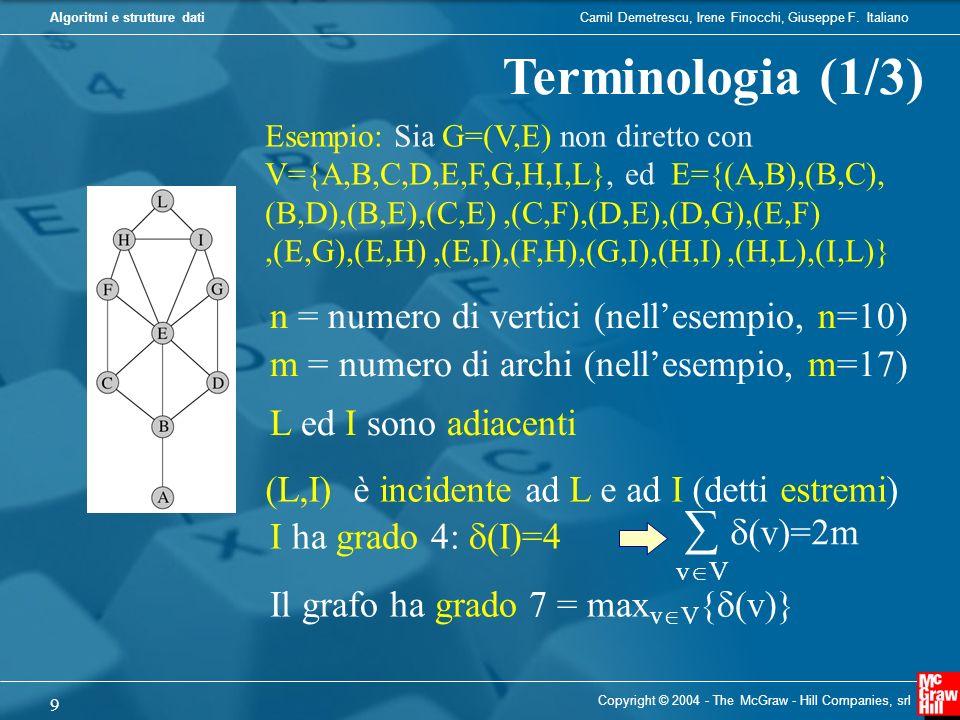 Camil Demetrescu, Irene Finocchi, Giuseppe F. ItalianoAlgoritmi e strutture dati Copyright © 2004 - The McGraw - Hill Companies, srl 9 Terminologia (1
