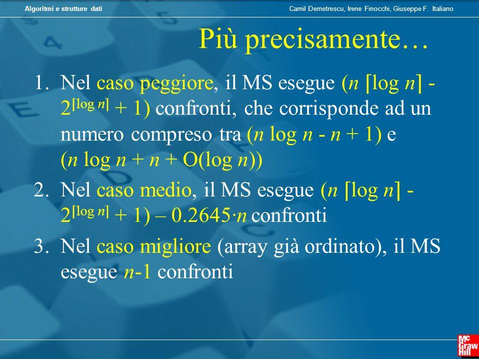 Camil Demetrescu, Irene Finocchi, Giuseppe F. ItalianoAlgoritmi e strutture dati Più precisamente… 1.Nel caso peggiore, il MS esegue (n log n - 2 log
