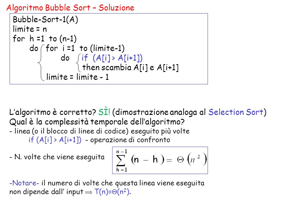 Algoritmo Bubble Sort – Soluzione Bubble-Sort-1(A) limite = n for h =1 to (n-1) do for i =1 to (limite-1) do if (A[i] > A[i+1]) then scambia A[i] e A[i+1] limite = limite - 1 Lalgoritmo è corretto.
