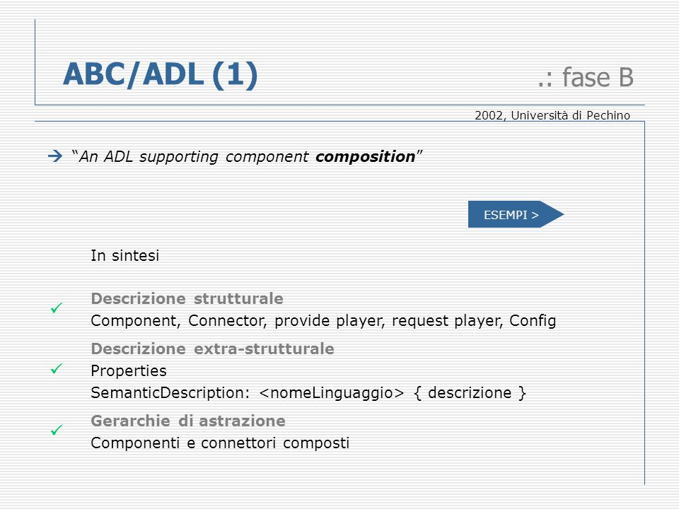 ABC/ADL (1).: fase B An ADL supporting component composition In sintesi Descrizione strutturale Component, Connector, provide player, request player,