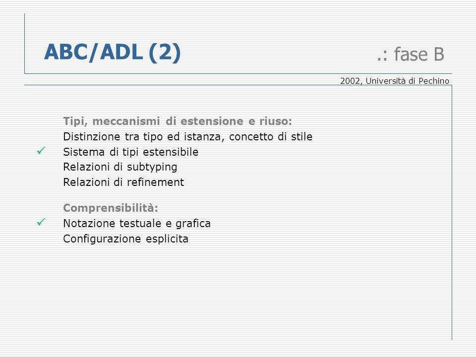 ABC/ADL (2).: fase B Tipi, meccanismi di estensione e riuso: Distinzione tra tipo ed istanza, concetto di stile Sistema di tipi estensibile Relazioni di subtyping Relazioni di refinement Comprensibilità: Notazione testuale e grafica Configurazione esplicita 2002, Università di Pechino