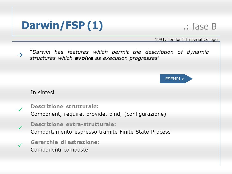Darwin/FSP (1).: fase B Darwin has features which permit the description of dynamic structures which evolve as execution progresses In sintesi Descriz