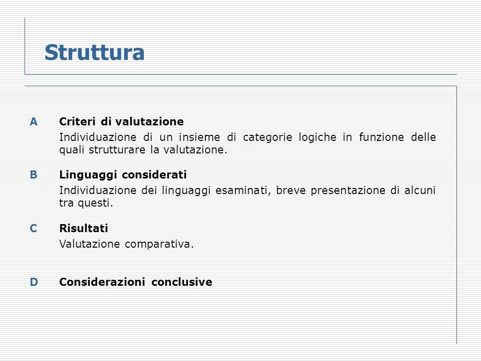 Struttura ACriteri di valutazione Individuazione di un insieme di categorie logiche in funzione delle quali strutturare la valutazione.