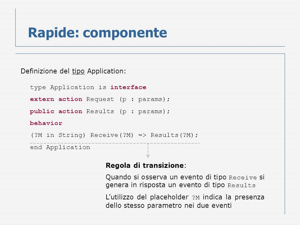 Rapide: componente Definizione del tipo Application: type Application is interface extern action Request (p : params); public action Results (p : para