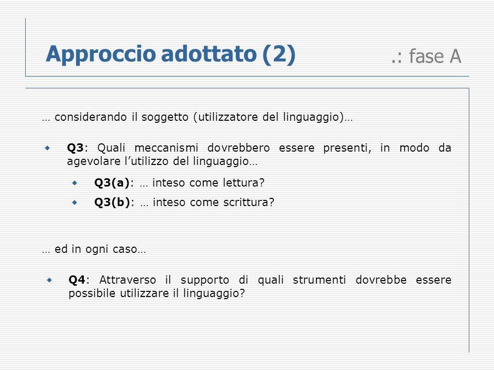 .: fase A Approccio adottato (2) … considerando il soggetto (utilizzatore del linguaggio)… Q3(a): … inteso come lettura.