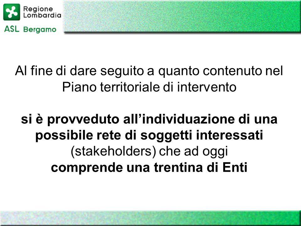 Al fine di dare seguito a quanto contenuto nel Piano territoriale di intervento si è provveduto allindividuazione di una possibile rete di soggetti in