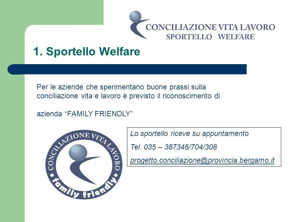 1. Sportello Welfare Per le aziende che sperimentano buone prassi sulla conciliazione vita e lavoro è previsto il riconoscimento di azienda FAMILY FRI