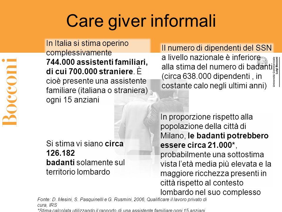 Care giver informali In Italia si stima operino complessivamente 744.000 assistenti familiari, di cui 700.000 straniere. È cioè presente una assistent